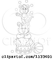 Black And White Monkey Juggling Balls On Top Of A Bear