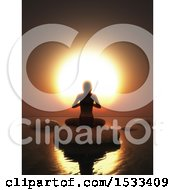 Clipart Of A 3d Silhouetted Woman Meditating In A Yoga Pose On A Rock Against An Ocean Sunset Royalty Free Illustration