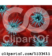 Clipart Of A 3d Background Of Blue Virus Cells And Blood Cells Royalty Free Illustration