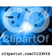 Clipart Of A Blue 3d Backgrond Of Virus Cells And Waves Royalty Free Illustration