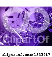 Clipart Of A 3d Purple Dna Strand And Virus Cells Background Royalty Free Illustration