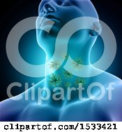 3d Man With Visible Virus Cells In His Throat