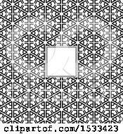 Blank Frame On A Black And White Pattern
