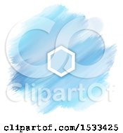 Poster, Art Print Of Blank Frame On A Watercolor Painting Of Blue Strokes On White