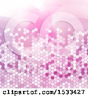 Clipart Of A Pink Hexagonal Pattern On Watercolor Royalty Free Vector Illustration by KJ Pargeter