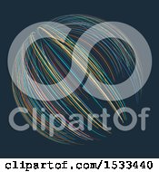 Clipart Of A Sphere Made Of Colorful Lines On Dark Blue Royalty Free Vector Illustration