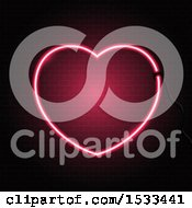 Clipart Of A Pink Neon Heart Over Bricks Royalty Free Vector Illustration