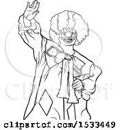 Clipart Of A Lineart Clown Waving Royalty Free Vector Illustration