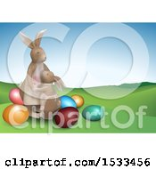 Clipart Of A Bunny Mom And Daughter With Easter Eggs Royalty Free Vector Illustration by dero
