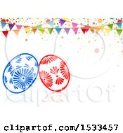 Clipart Of A Party Bunting Banner Over Easter Eggs Royalty Free Vector Illustration by dero