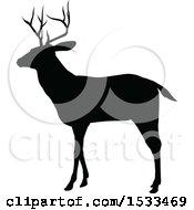 Black Silhouetted Deer Stag Buck