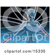 Blue Futuristic Human Female Or Alien Connected To Cables Clipart Illustration Image