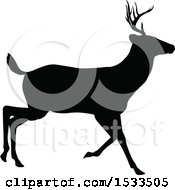 Clipart Of A Black Silhouetted Deer Stag Buck Royalty Free Vector Illustration