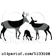 Clipart Of A Black Silhouetted Deer Buck Doe And Fawn Royalty Free Vector Illustration by AtStockIllustration