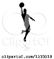 Clipart Of A Silhouetted Basketball Player Slam Dunking With A Reflection Or Shadow Royalty Free Vector Illustration by AtStockIllustration