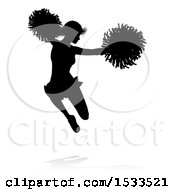 Clipart Of A Silhouetted Cheerleader Jumping With A Reflection Or Shadow Royalty Free Vector Illustration