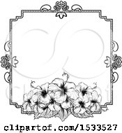 Black And White Border Or Wedding Invitation With Hibiscus Flowers