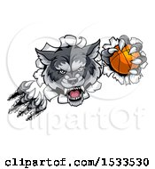 Poster, Art Print Of Gray Wolf Slashing Through A Wall With A Basketball
