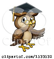 Presenting Wise Professor Owl With Glasses And Graduation Cap