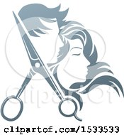 Clipart Of A Pair Of Hair Cutting Scissors With Profiled Male And Female Heads Royalty Free Vector Illustration