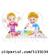 Poster, Art Print Of Caucasian Boy And Girl Kneeling And Painting