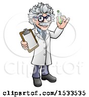 Happy Male Scientist Holding A Test Tube And Clipboard