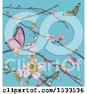Background Of Butterflies And Branches With Spring Blossoms Over Blue Sky