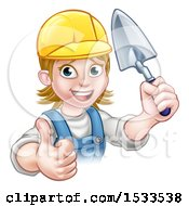 Clipart Of A Female Mason Holding A Trowel And Giving A Thumb Up Royalty Free Vector Illustration by AtStockIllustration