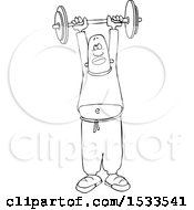 Lineart Black Man Working Out With A Barbell