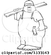 Poster, Art Print Of Lineart Black Male Carpenter Carrying A Wood Board