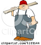 Poster, Art Print Of White Male Carpenter Carrying A Wood Board