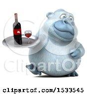 Poster, Art Print Of 3d White Monkey Yeti Holding Wine On A White Background