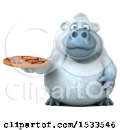 Poster, Art Print Of 3d White Monkey Yeti Holding A Pizza On A White Background