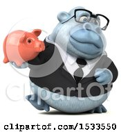 Poster, Art Print Of 3d White Business Monkey Yeti Holding A Piggy Bank On A White Background