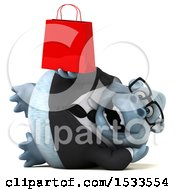3d White Business Monkey Yeti Holding A Shopping Bag On A White Background