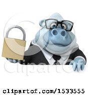 Poster, Art Print Of 3d White Business Monkey Yeti Holding A Padlock On A White Background