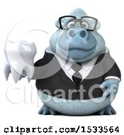 Poster, Art Print Of 3d White Business Monkey Yeti Holding A Tooth On A White Background