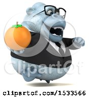 Poster, Art Print Of 3d White Business Monkey Yeti Holding An Orange On A White Background