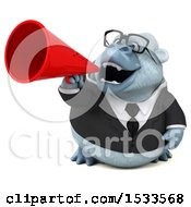 Clipart Of A 3d White Business Monkey Yeti Holding A Megaphone On A White Background Royalty Free Illustration