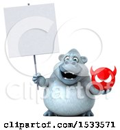 Poster, Art Print Of 3d White Monkey Yeti Holding A Devil On A White Background