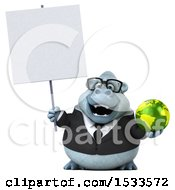 Poster, Art Print Of 3d White Business Monkey Yeti Holding A Globe On A White Background