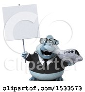 Clipart Of A 3d White Business Monkey Yeti Holding A Plane On A White Background Royalty Free Illustration