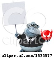 Poster, Art Print Of 3d White Business Monkey Yeti Holding A Devuk On A White Background