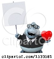 Poster, Art Print Of 3d White Business Monkey Yeti Holding A Heart On A White Background
