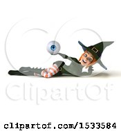 Clipart Of A 3d Sexy Green Witch Holding An Eye On A White Background Royalty Free Illustration