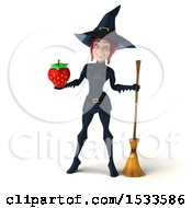 Clipart Of A 3d Sexy Blue Witch Holding A Strawberry On A White Background Royalty Free Illustration