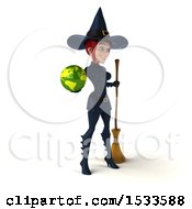 Clipart Of A 3d Sexy Blue Witch Holding A Globe On A White Background Royalty Free Illustration