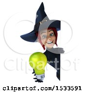 3d Sexy Blue Witch Holding A Light Bulb On A White Background