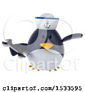 Clipart Of A 3d Chubby Penguin Sailor Holding A Wrench On A White Background Royalty Free Illustration