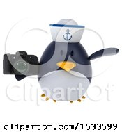 Clipart Of A 3d Chubby Penguin Sailor Holding A Camera On A White Background Royalty Free Illustration